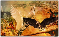 Pegasus - The Fight for Supremacy (PaulO Classic. ) Tags: pegasus greece myth ancientgreece rubyblossom picmonkey mounthelcion