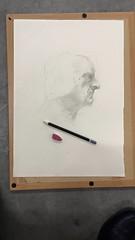 Life Drawing, Side (lana_finn) Tags: shadow portrait white man pencil paper rubber highlight hb tonal crosshatching