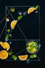 Golden ratio of summer drinks (Dina Belenko) Tags: summer food black cold art ice cooking glass bar composition spiral fun design chalk leaf lemon graphic drink drawing geometry mint tasty spoon science fresh lemonade fromabove delicious math learning precision homework proportion scheme blackboard topview khabarovsk nutrition goldensection goldenratio appetizing kithen nutritionist dietetics cartesiancoordinates