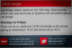Lea Bridge - Opens 15th May (MoreToJack) Tags: greateranglia leabridge london signage poster information abellio publicity railway sign signs station abelliogreateranglia