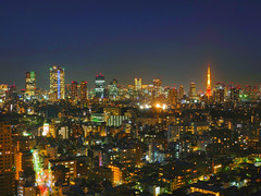 Tokyo_1190603 (strange_hair) Tags: building tower japan night skyscraper tokyo colorful