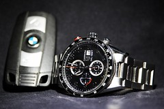 Tag Heuer 1887 (nik.golding) Tags: blue white black macro logo movement key hand time tag watch indoor timepiece stop chrome automatic bracelet strap bmw second date strapon chronograph stopwatch calibre carrera heuer tagheuer caliber 1887 tachymetre