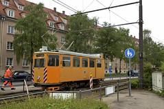 Der Wagen zieht in die provisorische Wendeanlage zurck (Bild: Andy Paula) (Frederik Buchleitner) Tags: 2942 abnahmefahrt arbeitswagen fahrdrahtkontrollwagen fahrleitungskontrollwagen fkwagen munich mnchen strasenbahn streetcar tram trambahn