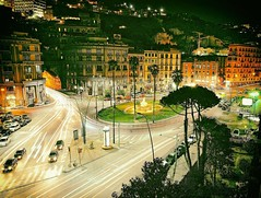 Life Begins at Night (Steve Lundqvist) Tags: street city travel trees light italy plants cars night square lights town italia traffic roundabout tunnel bynight napoli naples piazza