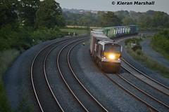 8209 passes Stacumny Bridge, 27/6/16 (hurricanemk1c) Tags: irish train gm rail railway trains enterprise railways irishrail 201 nir generalmotors countykildare 2016 emd iarnrd 8209 ireann northernirelandrailways iarnrdireann iwtliner stacumny stacumnybridge industrialwarehousingandtrading 2045northwallballina longestfreighttrain