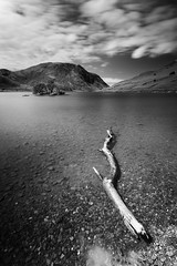 Buttermere in black and white (aveyardphotography) Tags: log tree branch fallen lake buttermere cumbria district trees island mountains north england shoreline clouds long exposure le pebbles