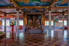 Interior Wat Krom Temple - Sihanoukville, Cambodia (bvi4092) Tags: travel orange architecture photoshop temple hall nikon worship asia cambodia sihanoukville buddha interior monk inside column nikkor d300s 18105mmf3556 nikon18105mmf3556 watkrom