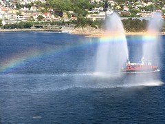 Farewell to Norway at lesund (James0806) Tags: rainbows watersprays