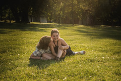 Oh those happy days. (vicorven) Tags: life new family light sunset summer portrait people sun cute green beach girl smile yellow happy golden kiss play bright magic mother hour moment playful