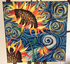Sunflowers/starry night clash (mtaekker) Tags: art painting acrylic inspired sunflowers vangogh starrynight mtaekker