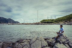 -Sea breeze and vagrant. (AllenPan02) Tags: boy sea sky cloud lake beach water stone relax hongkong scenery wind outdoor wave