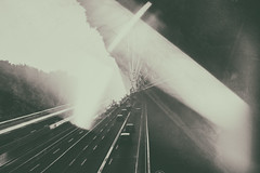 experimentell (ChristinaWieck) Tags: brcke bridge autobahn highway licht light spiegelung reflection prism prisma sw schwarzweiss blackwhite olympus
