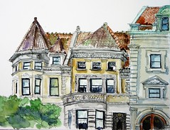 Park Slope Brooklyn (softfurn Susan) Tags: brooklyn parkslope nyc sketch drawing ink watercolor locationsketch pleinairsketch nycurbansketchers 21prospectparkwest 24prospectparkwest