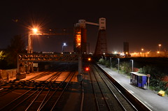 St.Andrews Road (sgreen757) Tags: nikon d7000 night time dark lights industry industrial docks port avonmouth bristol st andrews road train rail railway station silo tracks long exposure