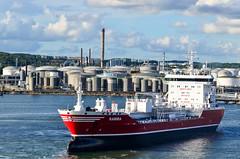 Arriving in Gteborg by ferry (jbdodane) Tags: alamy161016 cycletouring cyclotourisme europe freewheelycom goteborg oil sweden tanks jbcyclingnordkapp alamy