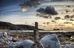 Balancing rocks, Clonque Bay, Alderney (neilalderney123) Tags: 2016neilhoward alderney landscape clonque landmarktrust sunset clouds beach bay fort zen rockbalancing rockstacking