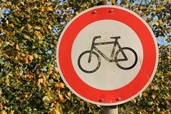 Weathered Interdiction (gripspix (OFF)) Tags: leaves bike sign laub autumnleaves foliage schild bltter fahrrad interdiction herbstlaub verbot 20141029