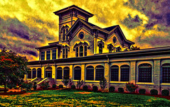 Surreal sunset over O'boro (SteveMather) Tags: sunset red usa painterly green yellow painting downtown purple dusk kentucky ky surreal clean dxo viewpoint 4s owensboro plugins funeralhome iphone adjust 2014 funereal oboro restyle topazlabs tooncamera haleymcginnis williamstirmanmansion