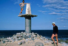 Cape Howe trig point, Nadgee, 1985 (NettyA) Tags: summer film 35mm sand dunes australia slide pacificocean coastal bushwalking nsw scanned newsouthwales kodachrome 1986 1985 scannedslide capehowe farsouthcoast nadgee conferencepoint nadgeenaturereserve nswvictorianborder