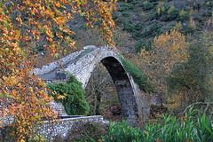 The old bridge [explored 18 Noe 2014] (ChrisBrn) Tags: bridge fall stone foliage greece stonebridge