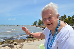 Theresa Irene Wolowski waving hello from the Fort Point Pedestrian Walk in Belize City Central America (RYANISLAND) Tags: city america belize central tropical tropic belizecity tropics centralamerica warmweather centralamerican belizean belizeanpeople countyofbelize