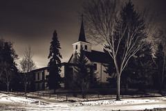 Down at the End of Lonely Street [Explored] (Don Price (jr)) Tags: longexposure winter snow canada church monochrome canon edmonton alberta gettyimages 6d donprice stpaulslutheranchurch ef1635mmf4lisusm