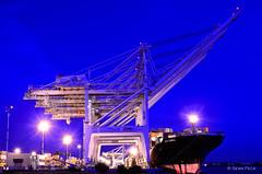Unload (Sean Peck) Tags: night oakland ships cargoships cranes bayarea sanfranciscobay sfbayarea sfbay middleharborpark docking portofoakland