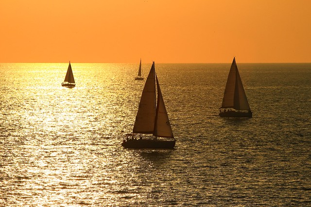 sailing at the golden hour - Tel-Aviv beach