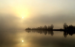 Misty sunrise (Neal J.Wilson) Tags: trees light water silhouette clouds sunrise reflections landscapes still nikon skies sunsets calm scandinavia moods fjords d3200