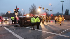 Two Trapped After Vehicle Overturns (bcfiretrucks) Tags: canada news way marine bc crash accident north columbia canadian jaws burnaby british fraser incident firefighter rollover collision overturn