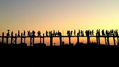 Like an ant trail (PeterCH51) Tags: bridge light sunset sky lake silhouette evening burma myanmar mandalay iphone amarapura ubein teakwood taungthaman teakwoodbridge peterch51