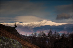 A snow capped Skiddaw from the Borrowdale valley. (Explored  10/1/2015). (Smudge 9000) Tags: winter england unitedkingdom lakedistrict cumbria fells 2014 borrowdale