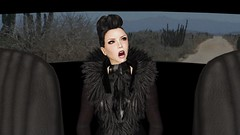 Blood Like Lemonade (alexandriabrangwin) Tags: world road old music woman black travelling window car computer hair back 3d graphics shiny view singing desert song seat coat rear feather hidden glossy secondlife virtual latex tribute diva crested pelle renegade catsuit cgi layered bloodlikelemonade moorcheeba alexandriabrangwin