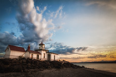 West Point Light (michellelynn) Tags: seattle park light sunset lighthouse clouds washington discovery