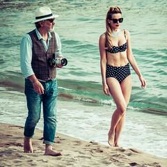 Shooting on the beach (totofffff) Tags: street 2 white black france film beach festival alpes french riviera noir cannes 10 d mark olympus ii e shooting om blanc maritimes croisette mditerrane