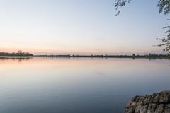 a fine line (stevefge (away travelling)) Tags: light sunset sky water netherlands landscape nederland beuningen weurt grindgat nederlandvandaag reflectyourworld