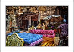 outdoor market in taroudant, morocco. (raymondstewart1) Tags: travel people colour market beds morocco souk taroudant
