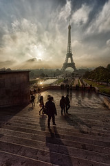 Walking towards the Eiffel tower (marko.erman) Tags: morning travel light sky people sun paris france tower monument architecture clouds stairs sunrise walking mood cityscape view pov sony eiffeltower visit esplanade romantic viewpoint trocadero contrejour mids