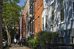 Macdougal Street Townhouses (Joel Raskin) Tags: street nyc newyorkcity trees buildings shadows manhattan townhouse sony streetscene sidewalk greenwichvillage citystreet macdougalstreet urbantrees a7ii a7m2 sel55f18z