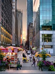 Summer Evening, New York City (17705-17711) (John Bald) Tags: street newyorkcity sunset summer newyork buildings evening dusk manhattan pedestrians sixthavenue foodcart midtownmanhattan west41ststreet