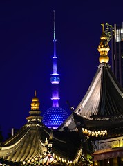 Shanghai - Old and New (cnmark) Tags: china shanghai pearl orient pearloftheorient tv tower building night bright colored coloured light nacht nachtaufnahme noche nuit notte noite 东方明珠 东方明珠电视塔 huangpu district yu yuan garden historical historic classic buildings gebäude 中国 上海 黄浦区 豫园 ©allrightsreserved