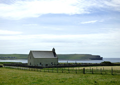 St Peter's Church - Skaill (orquil) Tags: ocean old uk greatbritain summer stpeters church sunshine june skyscape islands scotland seaside nice orkney view north shoreline scenic sunny atlantic attractive fields cloudscape kirk headland orcades westmainland bayofskaill