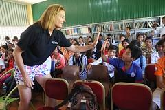 NBA  Wayne Ellington   WNBA  Sue Wicks   ACCESS  (USEmbassyPhnomPenh) Tags: high five highfive cambodia wayne ellington sue wicks