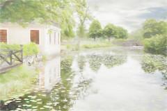 Walking through the park. (BirgittaSjostedt) Tags: park paint outdoor pastel bro blommor vatten hus trd netart turism landskap vallon turist uppland spegling bruk artdigital lvstabruk bruksmilj magicunicornverybest birgittasjostedt