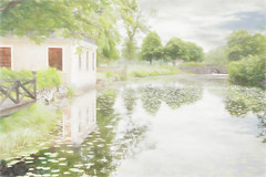 Walking through the park. (BirgittaSjostedt) Tags: park paint outdoor pastel bro blommor vatten hus träd netart turism landskap vallon turist uppland spegling bruk artdigital lövstabruk bruksmiljö magicunicornverybest birgittasjostedt