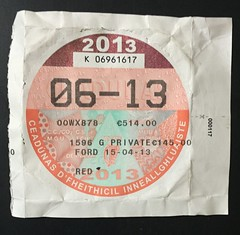 IRELAND 06-2013 ---VEHICLE TAX DISK lic. #00WX878 front (woody1778a) Tags: ireland numberplate registrationplate tax disk licenseplate certificate mycollection myhobby mytraders license europe woody alpca npcc