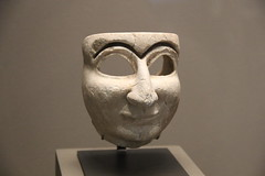 Limestone mask of a man, Early Dynastic Period III, c. 2500-2400 BC (Gary Lee Todd, Ph.D.) Tags: france louvre paris ancient neareast