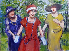 Three Graces (kevin63) Tags: park ladies painting hats posing threegraces lightner woodpanel 1920swomen clearprimed