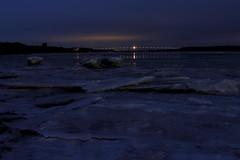 Chillin' In Kingston (95wombat) Tags: dark night evening cold blue ice water bridge kingston newyork