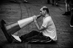 Play It Again, Sam (Steve Greene Photography) Tags: london street music cone begger candid monochrome urban blackandwhite streetphotography nikond40 people streetperformer